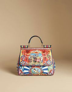 Dolce & Gabbana Summer 2016 Sicily Bag Leather Dauphine printed Medium Size inside the 'Sicilian Carretto' Women Collection.