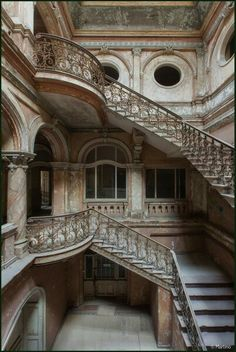 260. marble staircases castle light stone old brick #arches #architecture #fireplaces #romantic #places #stained #glass #staircases #windows wrought iron palace Moroccan style