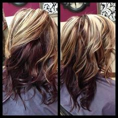 ♡ #red #blonde #highlights