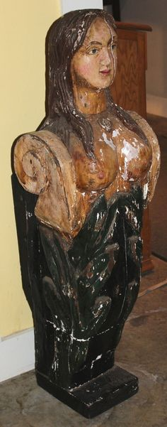 20th c English Paint Decorated Mast Head with Mermaid Figure