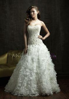 Ball Gown Strapless Floor Length Zipper up Organza Sleeveless Wedding Dress