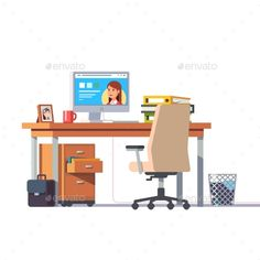 Office Desk with a Computer