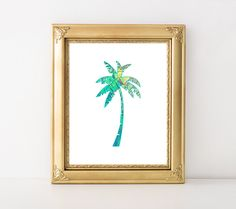 Palm Tree Printable Art Print Tropical Print Preppy Chic Nautical Nursery Decor Palm Tree Wall Art Beach Blue Green 8x10 Instant Download by MossAndTwigPrints on Etsy
