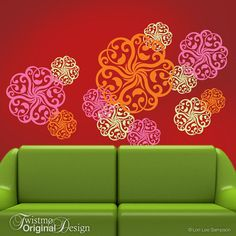 Vinyl Wall Decals: Mandala Doily Art Designs in 3 Colors, Wall Pattern Decals, Hot Pink Decor, Pink Flamingo, Tangerine Orange, Yellow Green