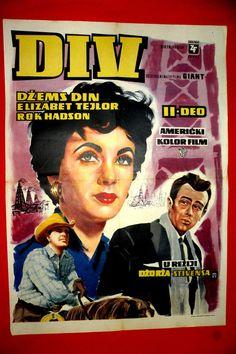 GIANT 1956  JAMES DEAN ELIZABETH TAYLOR ROCK HUDSON MEGA RARE EXYU MOVIE POSTER