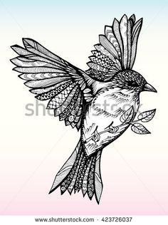 Find sparrow flying stock images in HD and millions of other royalty-free stock photos, illustrations and vectors in the Shutterstock collection. Zentangle Drawings, Bird Drawings, Zentangle Patterns, Zentangles, Chickadee Tattoo, Fly Drawing, Jewel Tattoo, Sparrow Tattoo, Tatuajes