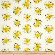 Bright Side Floral White from @fabricdotcom  Designed by Alisse Courter for Camelot Fabrics, this bright and springy cotton print collection is perfect for quilting, apparel, and home decor accents. Colors include white, yellow, and green, with black accents.