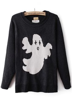 Black Cartoon Embroidery Round Neck Wool Blend Sweater