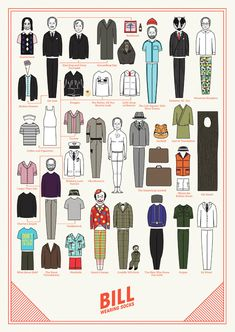 See the Many Costumes of Bill Murray, Now on a Paper Doll, in 'Bill Wearing Socks'