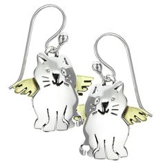 Gone, but never forgotten. These timeless earrings represent the guardian angel that will always be with you, a smiling sterling kitty with angelic wings.