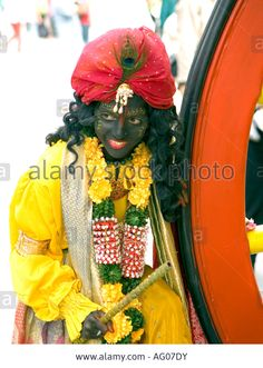 Young lady poses as Indian Deity in Trafalgar Square, London Rathayatra 2007 (Carnival of Chariots)