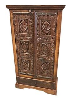 Antique Indian Chakra Hand Carved Cabinet Teak Rustic Armoire India Furniture Mogul Interior http://www.amazon.com/dp/B015PKHDUO/ref=cm_sw_r_pi_dp_JYdDwb1M7TVS7