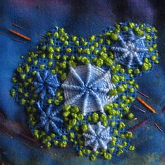embroidery detail  from When Colours Collide - Art Quilt - Monday, 16 August 2010 - on blog Lins Arty Blobs