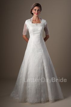 810.00 Modest Wedding Dresses : Chandwickhttp://www.latterdaybride.com/temple-dresses