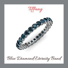 Round Diamonds, Blue Diamonds, Love Blue, Eternity Bands, Tiffany Blue, Custom Jewelry, Jewelry Stores, Jewelry Collection, White Gold