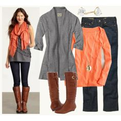 Coral and gray with jeans and boots