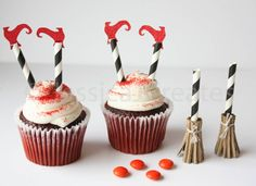 Halloween Cupcake Toppers - Halloween Party - Witch Cupcake Toppers - Halloween Witch Shoes Cupcakes
