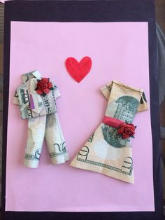 Oragami dress and suit made of money, the perfect gift for the bride and groom.