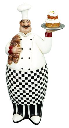 French Fat Chef With Serving Tray And Bread. Great collectable Item for your home and restaurant decor. Made from cold cast resin composite material. Dimension: 12 inch H x 6 inch wide. Biscuit, Bistro Kitchen, Fat Chef Kitchen Decor, Kitchen Rack, Decoupage, Cake Tray, Oui Oui, Home Decor Outlet, Decorative Objects
