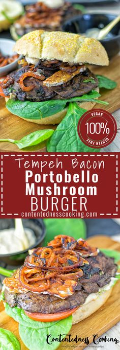 Tempeh Bacon Portobello Mushroom Burger is an incredibly delicious vegan and gluten free delight for every dinner or lunch. Totally cravable and delectable with just 5 ingredients and 2 easy steps!