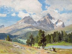 "edward harrison compton paintings | In the Engadin"" (Switzerland) Oil on canvas, 60 x 80 cm, signed"