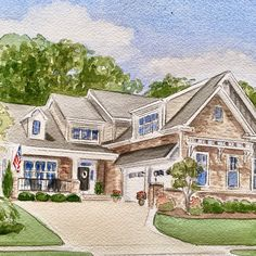 Watercolor house portraits. Custom watercolor painting from photographic references. Realtor Gifts, House Painting, Anniversary Gifts, Watercolor Paintings, Mansions, Portrait, House Styles, Home Decor, Mansion Houses
