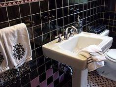 Purple and black bathroom