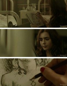 Clary sketches a drawing of Jace. I love that they kept this in the movie.