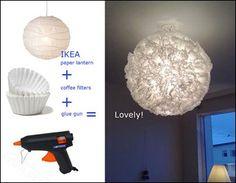 En rispapperslampa från IKEA + kaffefilter. Smart!