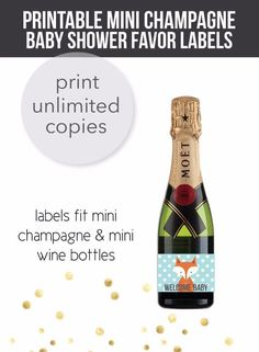 Woodland Fox Mini Champagne Baby Shower Favor Labels Baby Shower Prizes, Baby Shower Party Favors, Shower Games, Mini Champagne Bottles, Mini Wine Bottles, Free Baby Shower Printables, Baby Shower Activities, Shower Tips, Shower Ideas