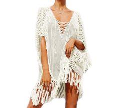 4894dfd3779 Women s Bathing Suit Cover Up Bikini Swimwear Tunic Tops Shirts Crochet  Dress - White-2 - CB184G0YZ6D