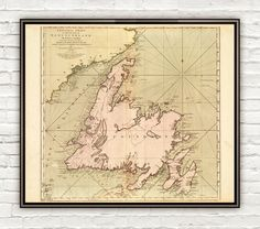 Old Map of Newfoundland Canada 1755 Vintage Map