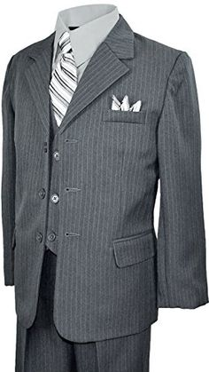 Boys Pinstripe Suit in Grey with Matching Tie Size 5 Black n Bianco http://www.amazon.com/dp/B00HBYGL6U/ref=cm_sw_r_pi_dp_U3z5tb009R06A