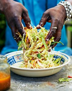 Hot and Fruity Caribbean Coleslaw by Levi Roots. Swap heavy, creamy coleslaw for this Hot and Fruity Caribbean Coleslaw from Levi Roots' cookbook Grill it with Levi. Spicy Coleslaw, Vegan Coleslaw, Coleslaw Salad, Carribean Food, Caribbean Recipes, Caribbean Coleslaw Recipe, Carribean Party, Healthy Caribbean Food, Healthy Food