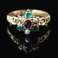 Antique Georgian Ring Garnet Emerald Pearl Suffragette