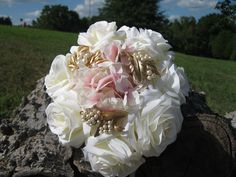 Brooch Bouquet -- White silk roses, pink silk hydrangeas,gold and pearl brooches.