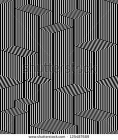 Optical lines seamless pattern, city black and white simple geometric stylish vector repeat background. by Goldenarts, via Shutterstock Op Art, Psychedelic Pattern, Pattern Coloring Pages, City Illustration, Illusion Art, Line Patterns, Pattern Drawing, Wall Art Designs, Geometric Art