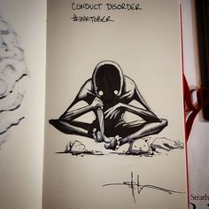 A year appointment ends of Inktober in which artists from around the world unleash their creativity. Shawn Coss drawing the mental disorders. Creepy Drawings, Dark Drawings, Creepy Art, Cool Drawings, Arte Horror, Horror Art, Inktober, Depression Art, Mental Health Art