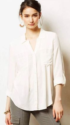 Anthropologie MAEVE Off White Rayon Islet Buttondown Shirt Top Blouse Large New #Maeve #Blouse #Casual