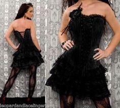 Black Burlesque / Gothic Lace Corset Mini Dress - Aussie Seller