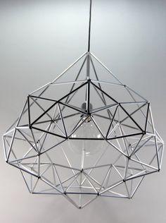 Diamond star Himmeli light pendant geometric silver by panselinos Pendant Lighting, Chandelier, Light Pendant, Straw Sculpture, Decor Interior Design, Interior Decorating, Diy Straw, Silver Lamp, Diy Furniture Easy