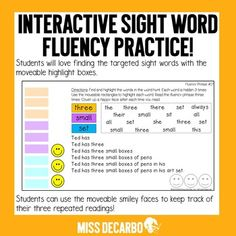 DIGITAL Sight Word Fluency Practice Pack #2 for Distance Learning Small Group Reading, Guided Reading Groups, Fluency Practice, Sight Word Practice, Sight Words Printables, Sight Word Activities, High Frequency Words, 100 Words, Reading Intervention