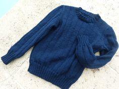 P1230547 Bleu Marine, Pulls, Pullover, Knitting, Crochet, Sweaters, Fashion, Tricot Facile, Handmade