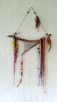 Boho Rustic gypsy décor Gypsy wall art bohemian by handmadebyfofo Gypsy Decor, Bohemian Decor, Deco Nature, Art Nature, Bohemian Crafts, Medicine Wheel, Fabric Art, Wind Chimes, Weaving