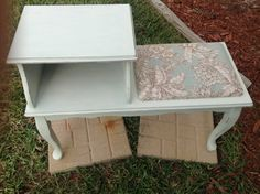 Distressed Telephone Table / Gossip Bench. $135.00, via Etsy.