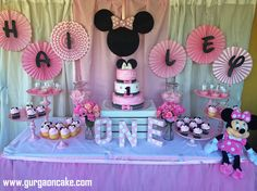 Simple Minnie Mouse Dessert Table We Did For Our Cousins within Minnie Mouse Decorations For Birthday Party - Best Home & Party Decoration Ideas Minnie Mouse Birthday Decorations, Minnie Mouse Theme Party, Minnie Mouse First Birthday, Minnie Mouse Baby Shower, Mickey Mouse Birthday, Minnie Mouse Table, Simple First Birthday, Girl First Birthday, First Birthday Parties