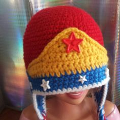 Crochet Wonder Woman Inspired Ear Flap Hat/beanie - Kids- Adult - Super Hero Hat - Red and Blue Hat - Marvel comics-Girls- Toddler by MagicWoolBall on Etsy