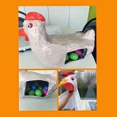 kleuter een eitje uit de buik halen. In het ei twee opdrachten: een voor de kleuter zelf en een voor klasgroep: een vertelplaat, het themalied zingen, tot zelfs een spelletje of woorden klappen,...