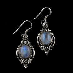 925 Solid Sterling Silver Rainbow Moonstone Gemstone Handmade Earring Jewelry #Handmade #DropDangle #Party