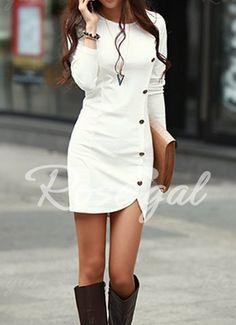 Buttons Design Long Sleeve Round Neck Pullover Women's Dress Long Sleeve Dresses | RoseGal.com